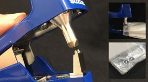 昨年秋のJAPAN PACKに参考出品した分包紙専用超音波ホッチキス「AUH30MO」(仮称・実用新案取得済)が進化しました。